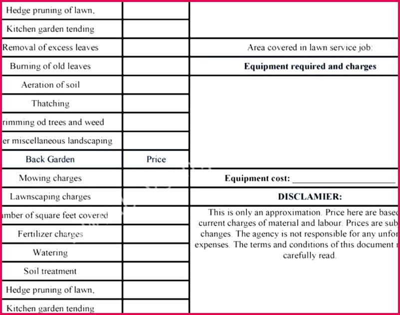 Cost Estimate Template Contractor Bid Sheet Template Best Document Template Template Estimate Lawn Mowing Bid form