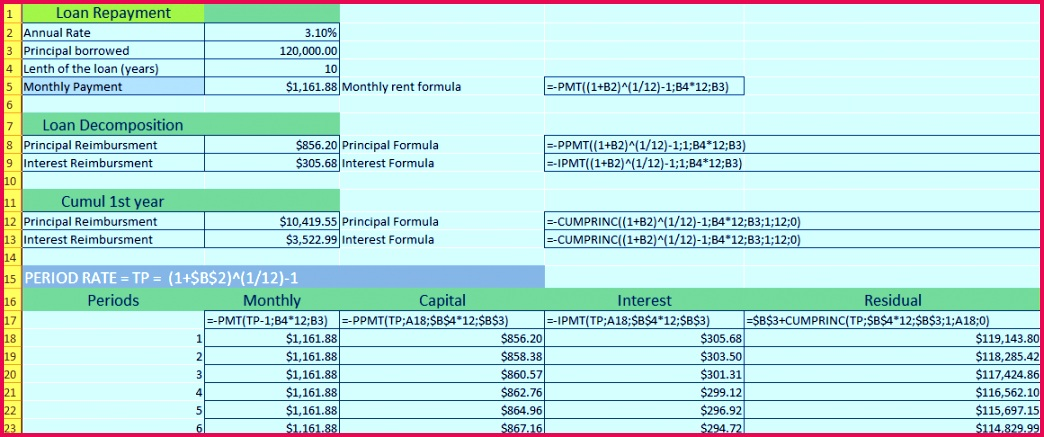 you can build a table in Excel that will tell you the interest rates the loan calculation for the duration de posing a loan