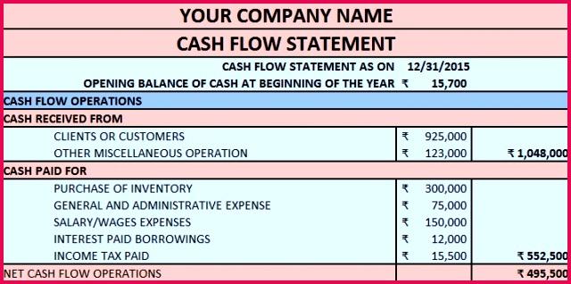 Download Cash Flow Statement Excel Template