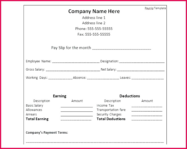Payslip Template Format In Word Document Download