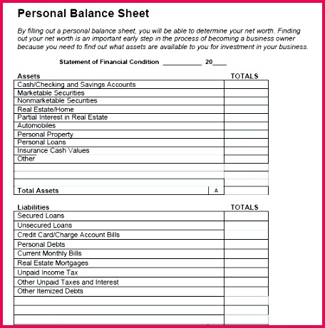 Personal Balance Sheet Template Inspirational 13 Personal Financial Statements Excel