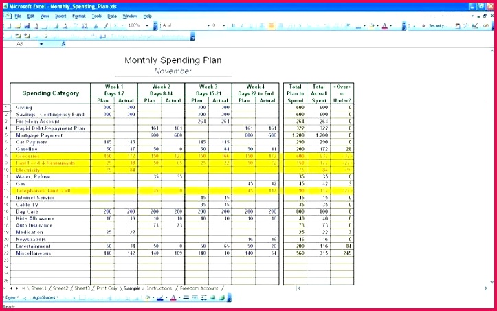 excel spending template