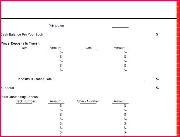 Monthly Bank Reconciliation Template Excel Free Uk