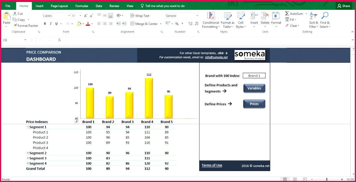 Price parison Tool Excel Template for petitive Analysis Template Screenshot Image 1 Someka