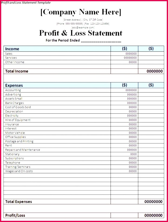 Profit Loss Excel Template Profit and Loss Statement Template Word Joselinohouse