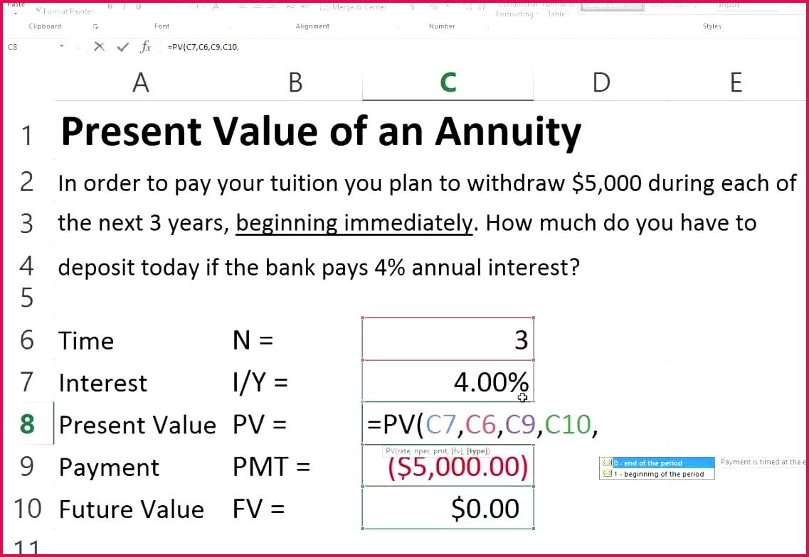 annuity spreadsheet
