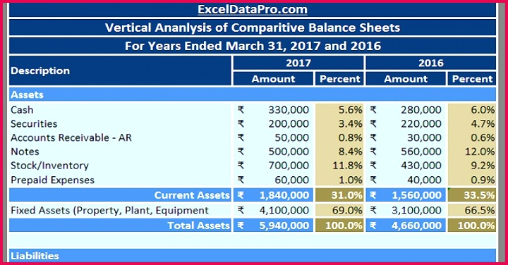 Download Balance Sheet Vertical Analysis Excel Template