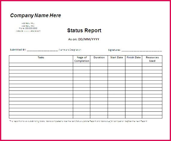 status report format examples