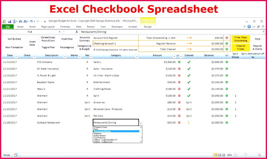 checking account spreadsheet excel bud spreadsheet and checkbook register