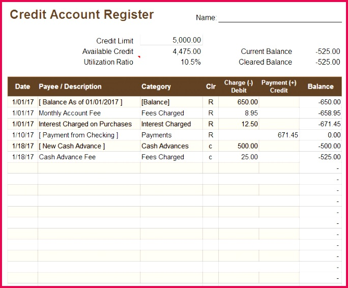 Download a free credit account register template for Excel to keep track of day to day credit card transactions and fees
