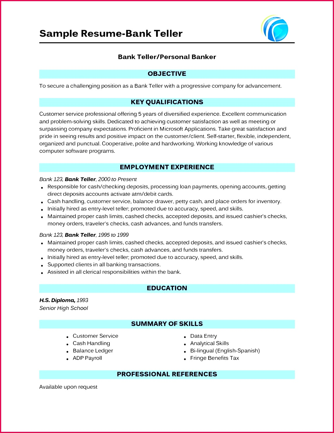 Fresh Resumes for A Bank Teller Lovely Bank Resume 0d Bank Teller