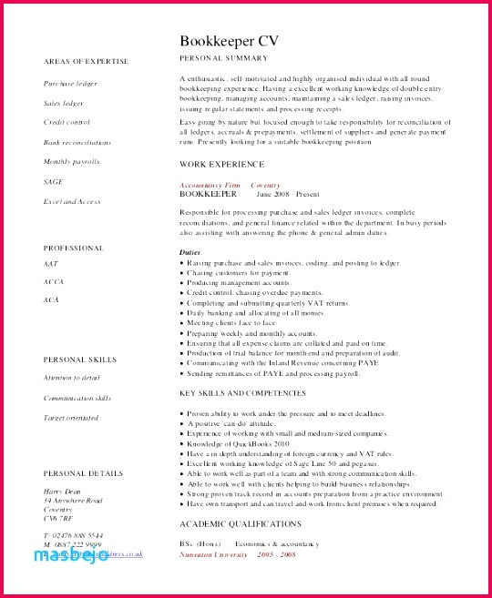 New Bookkeeper Resume Examples 59 New Entry Level Bookkeeper Resume Bookkeeping Paper Template