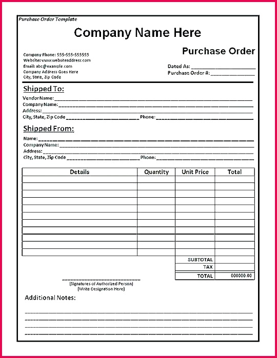 excel order form template purchase page word formats sample free templat excel template invoice bill purchase