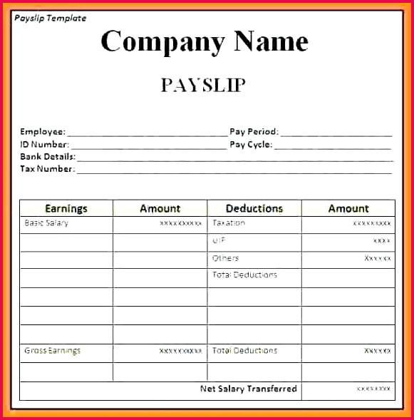 self employed payslip sample salary slip word format free