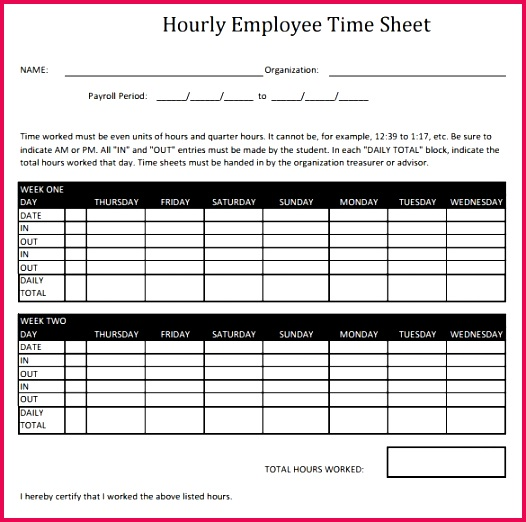 42 Elegant Hourly Timesheet Template Excel