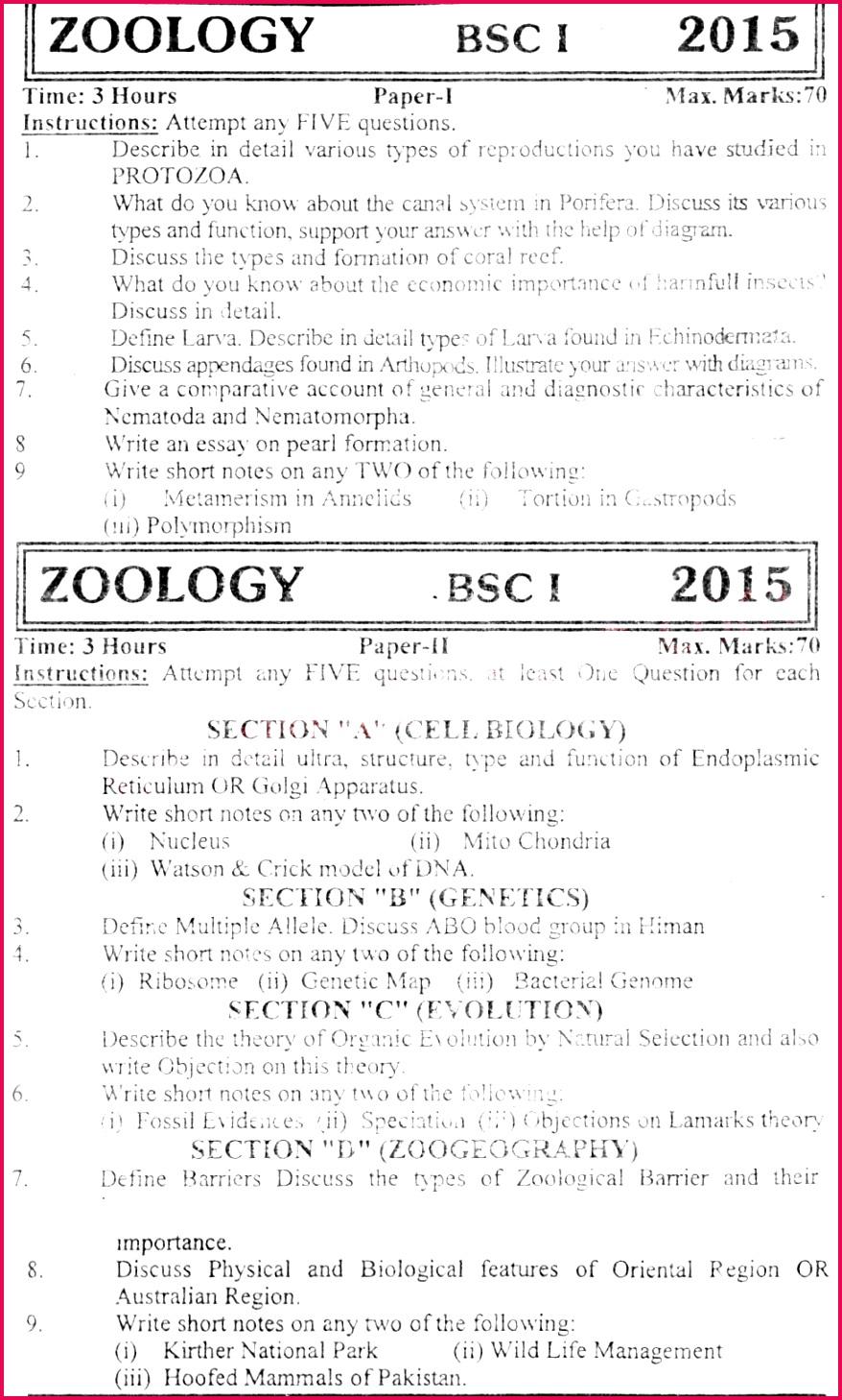 University of Karachi BSc Past Paper 11 2015