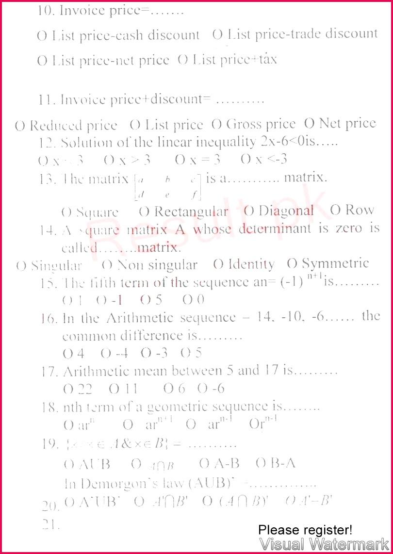 BISE Bannu hssc Part 1 Gernal Mathematics Englishversion sub Past Paper 2017