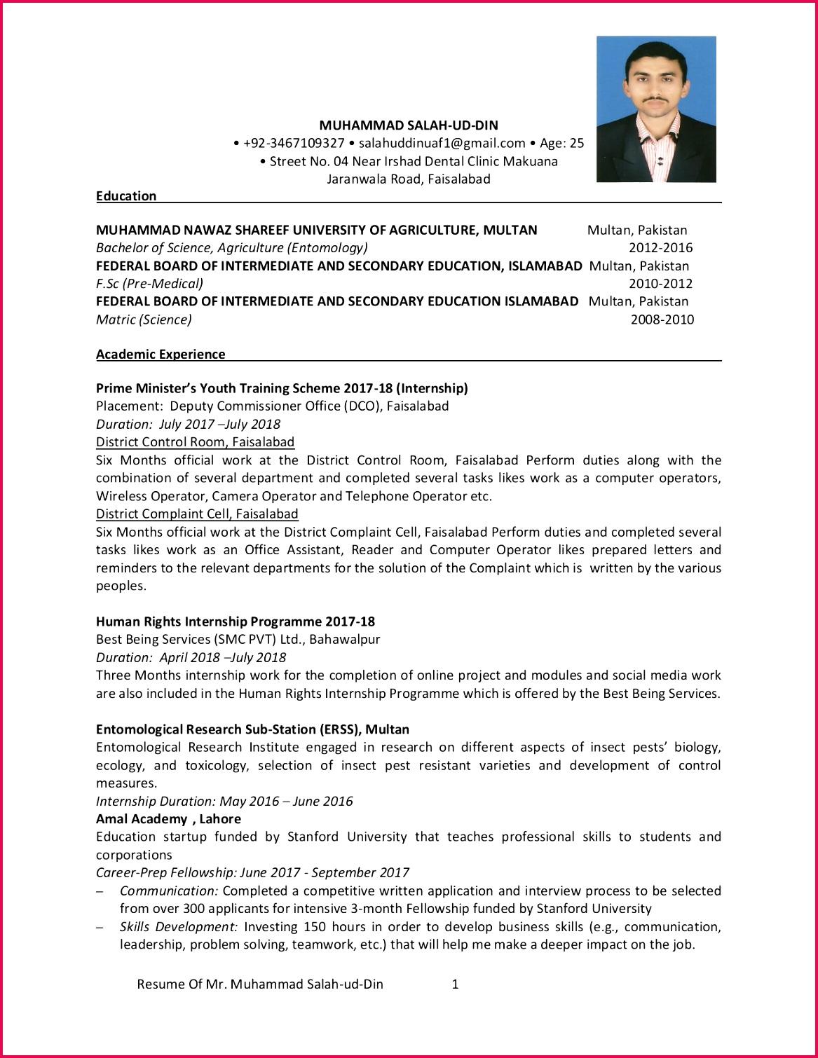 Resume Mr Muhammad Salah ud Din