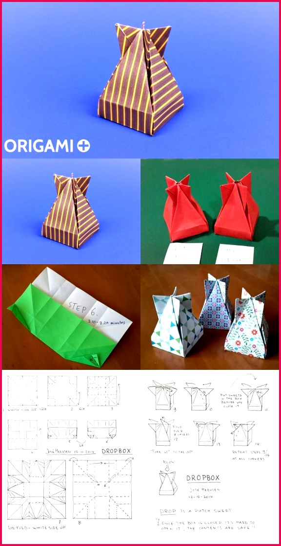 A Very cool Origami Box to put Valentine or Christmas ts the Dropbox by José Meeusen Diagram and video tutorial