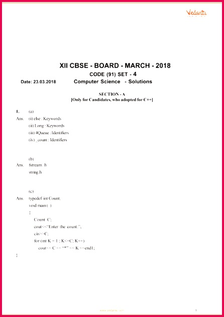CBSE Class 12 puter Science QP with Solutions part 1