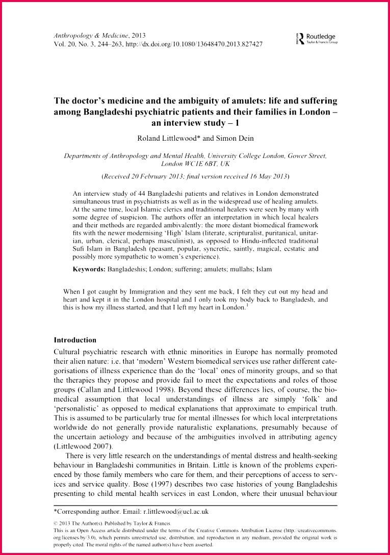 medicine and the ambiguity of amulets Life and suffering among Bangladeshi psychiatric patients and their families in London An interview study 1