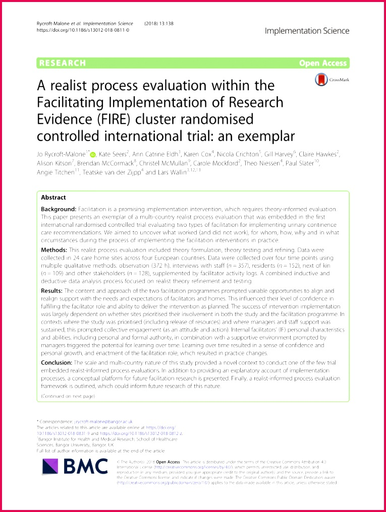 PDF A realist process evaluation within the Facilitating Implementation of Research Evidence FIRE cluster randomised controlled international trial an