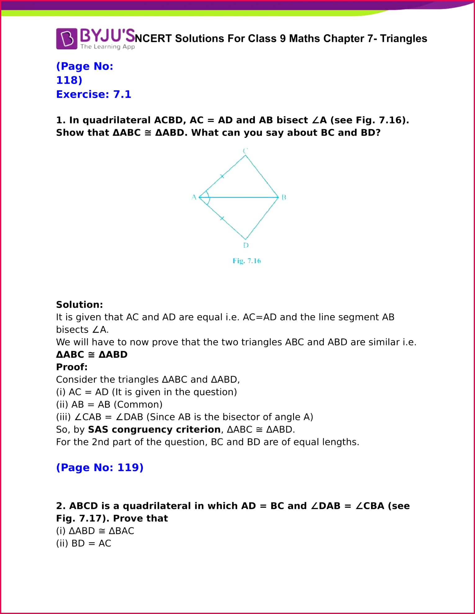 NCERT Solutions For Class 9 Maths Chapter 7 Triangles 01