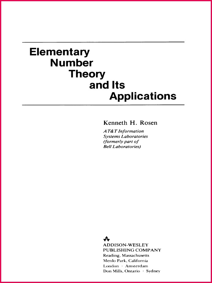 Rosen Elementary Number Theory and Its Applications Prime Number