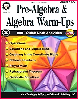 Pre Algebra and Algebra Warm Ups Grades 5 8