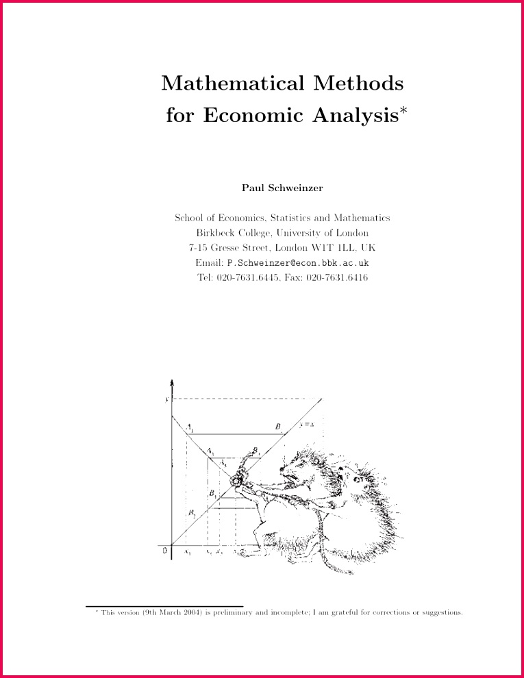 PDF Mathematical Methods for Economic Analysis