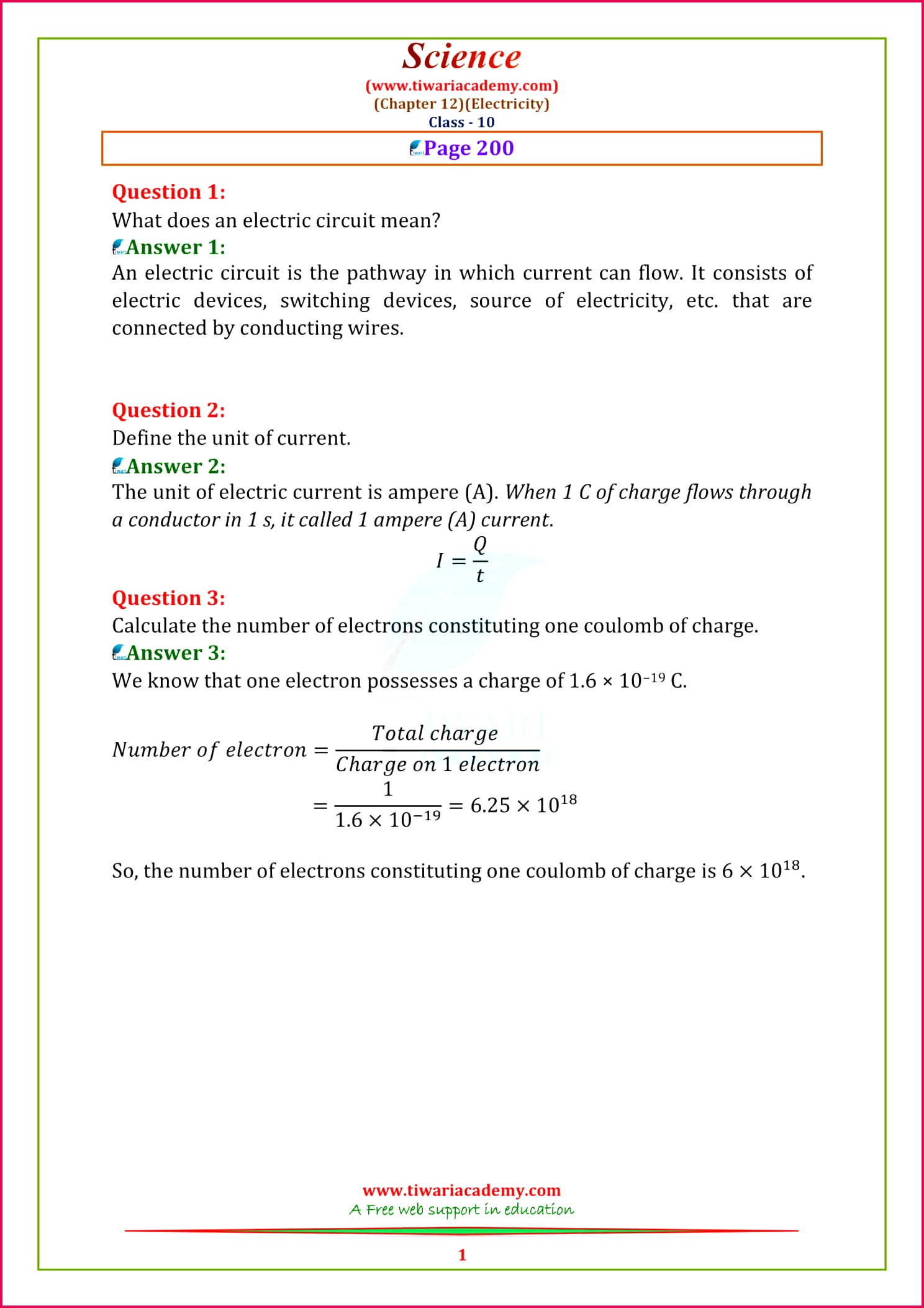 10 Science NCERT Solutions chapter 12 Page 200 1