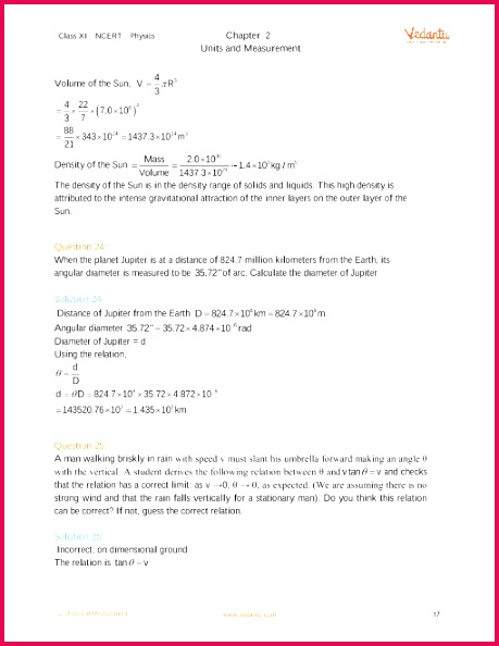 NCERT Solutions for Class 11 Physics Chapter 2 Units and Measurement Free PDF