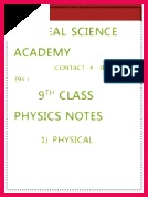plete Notes on 9th Physics by Asif Rasheed