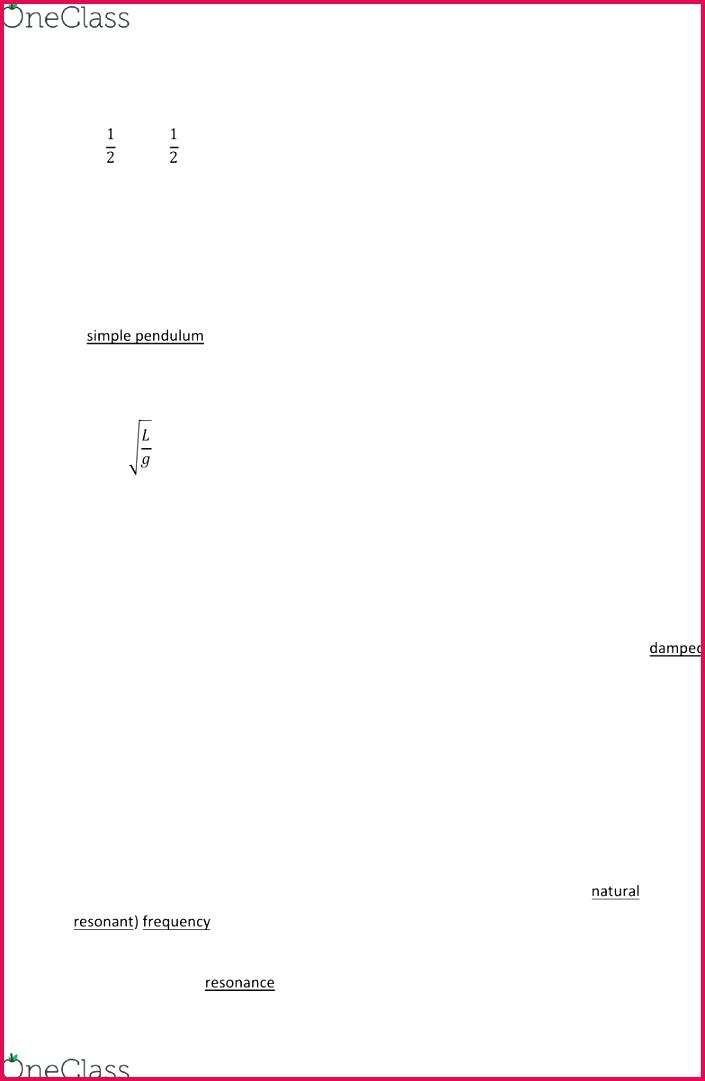 PHYS 101 Chapter Notes Chapter 11 Simple Harmonic Motion Transverse Wave Longitudinal Wave