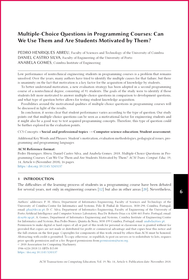 PDF Types of assessing student programming knowledge
