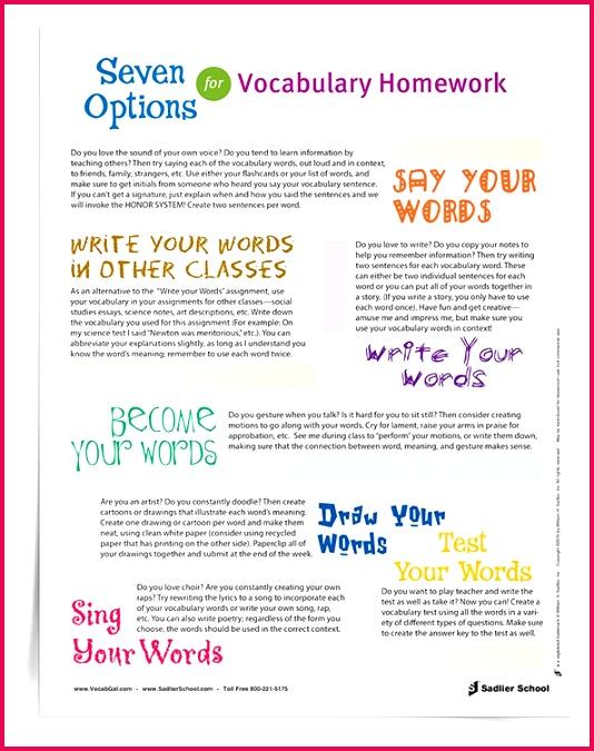 em 7 Options for Vocabulary