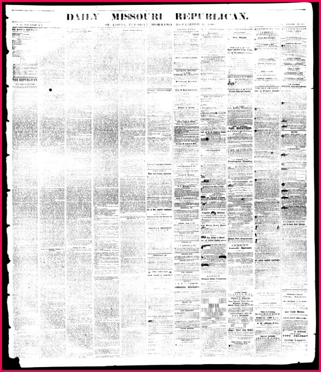 Daily Missouri Republican Saint Louis Mo 1860 11 06