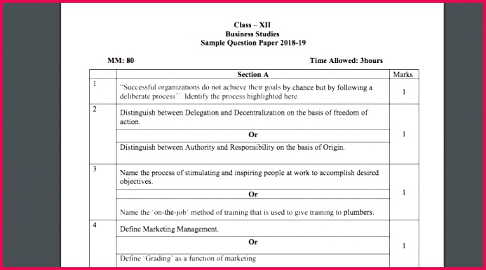 CBSE 2019 Business Stu s Sample Paper for Class 12 students