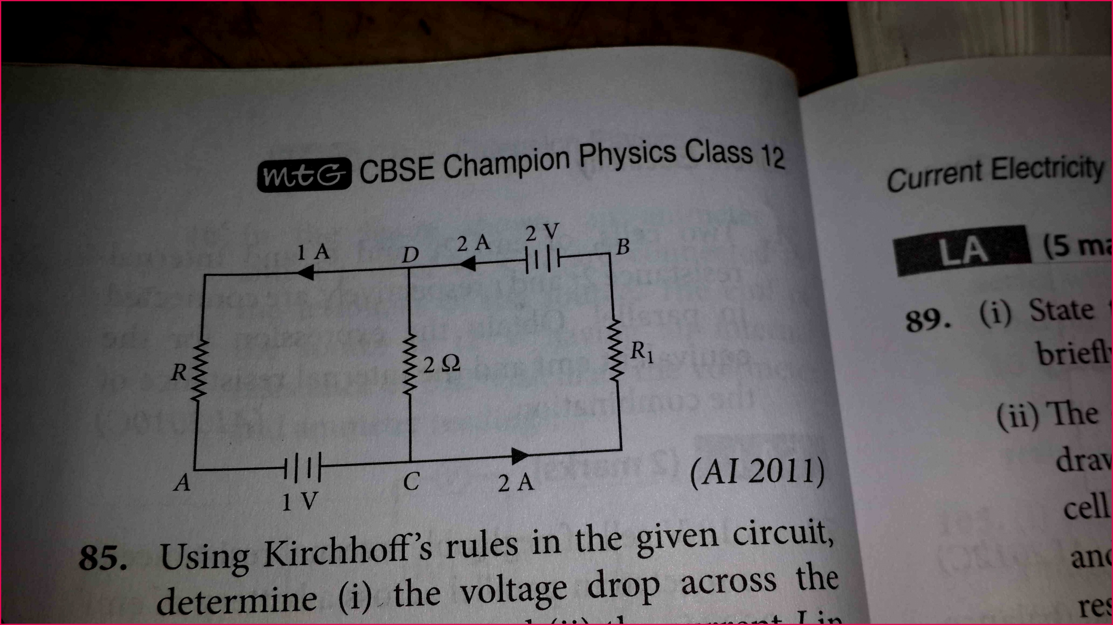 CBSE XII Science Physics Current Electricity In the given circuit assuming point A to be at zero potential use kirchhoff rule to determine the