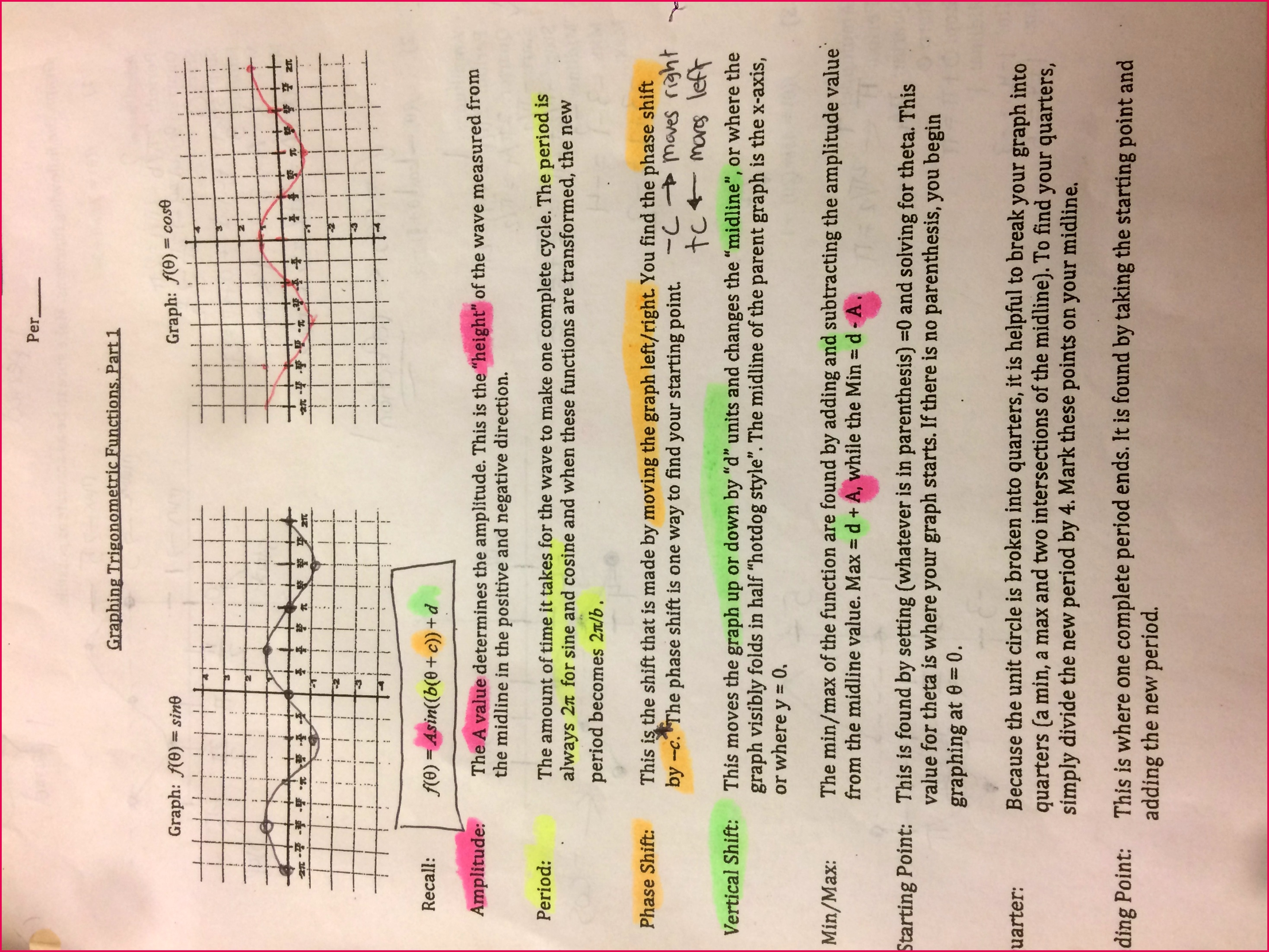 Review Graphing Sine and Cosine Part 1b Notes for Graphing Sine and Cosine HERE