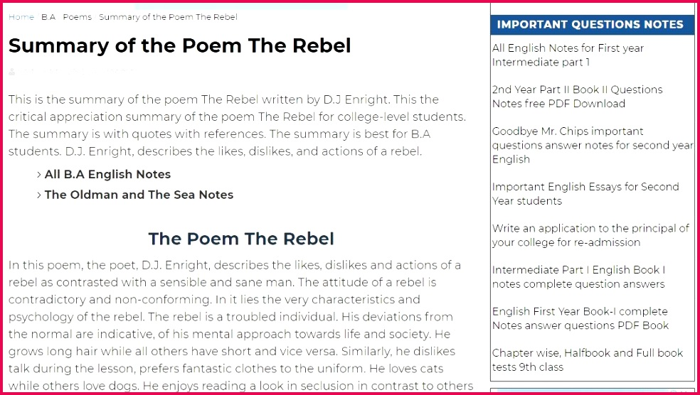 Appreciation Summary Rebel Students Teacher Poems College Education