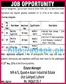 New Jobs in Quaid e Azam Industrial Estate Kot Lakhpat Lahore Jobs