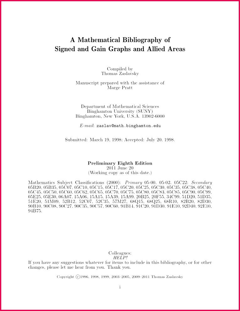 PDF A Mathematical Bibliography of Signed and Gain Graphs and Allied Areas