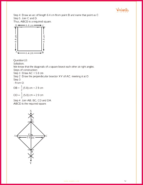 RS Aggarwal Class 8 Mathematics Solutions for Chapter 17 Construction of Quadrilaterals