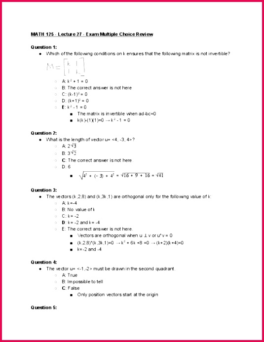 MATH 125 Lecture 27 Exam Multiple Choice Review
