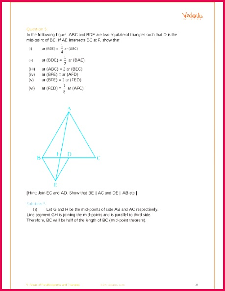 NCERT Solutions for Class 9 Maths Chapter 9 Areas of Parallelograms and Triangles Free PDF