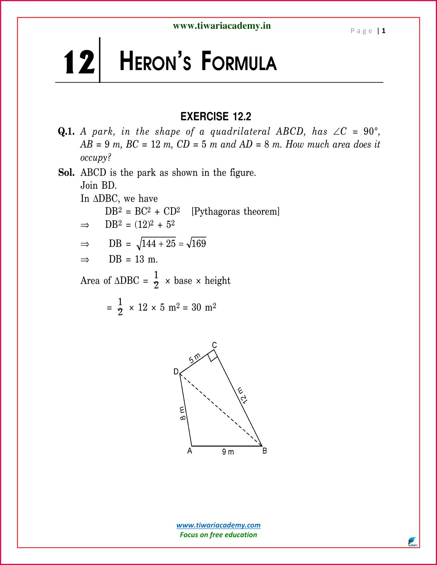9 Maths NcertSolutions chapter 12 2 1