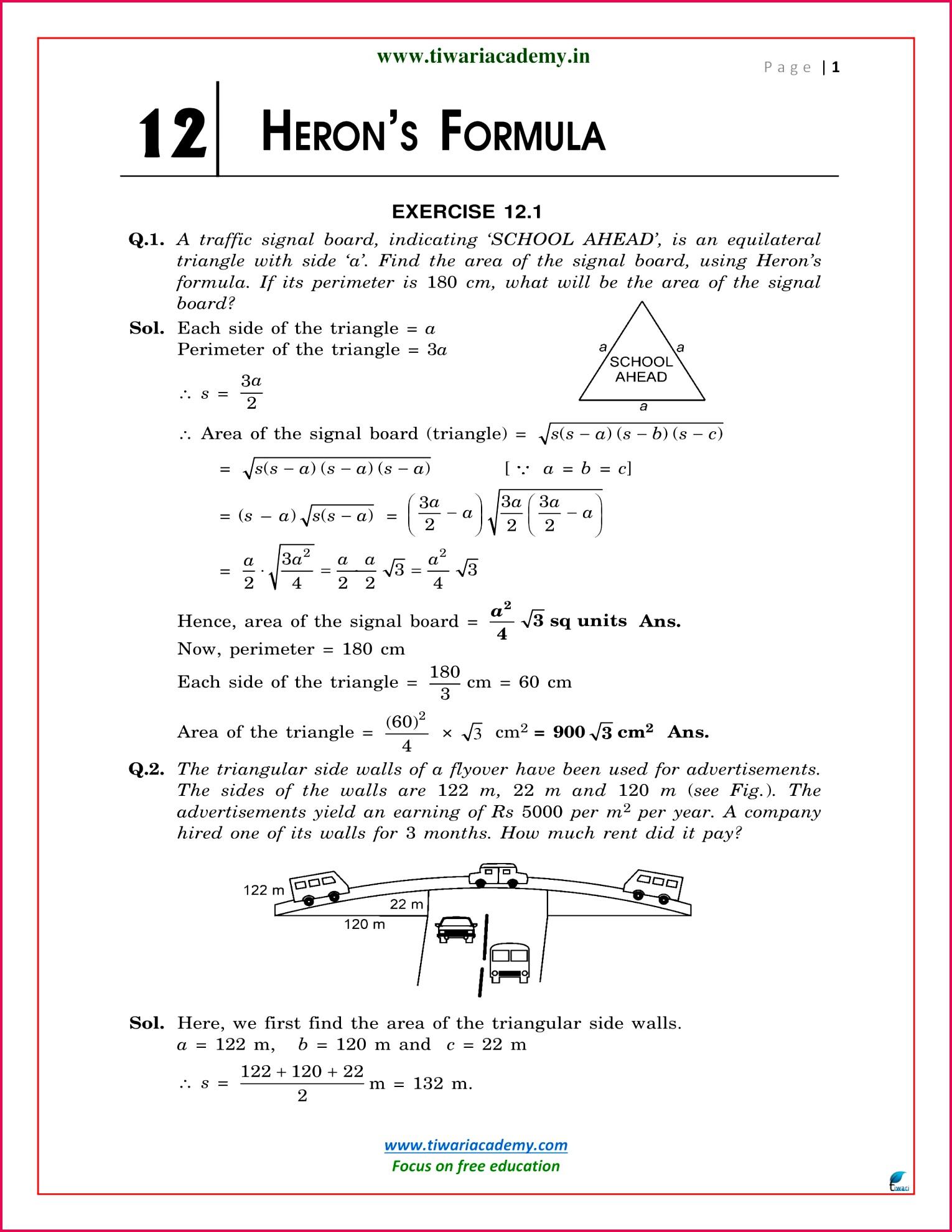 NCERT Solutions for Class 9 Maths Chapter 12