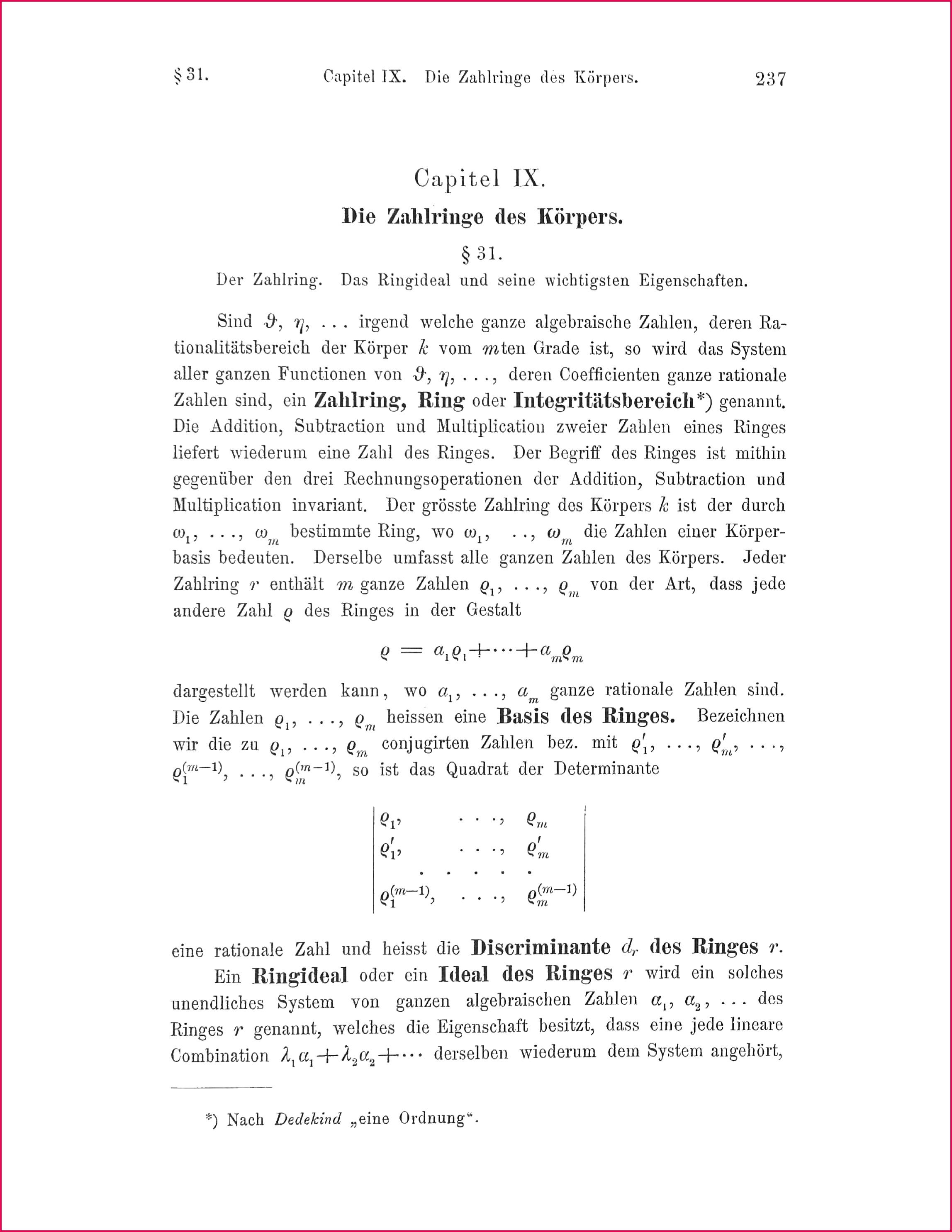 Chapitel IX of Die Theorie der algebraischen Zahlkörper