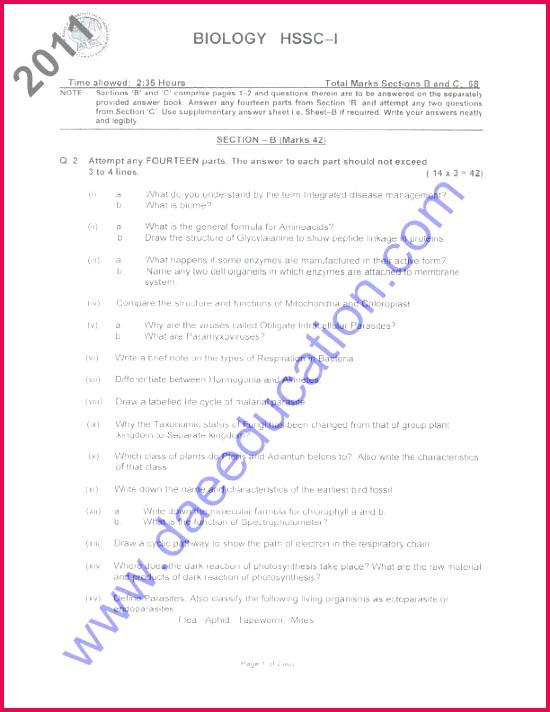 Fsc part 1 Biology past paper 2011 federal board Fsc past papers 2011 Fsc